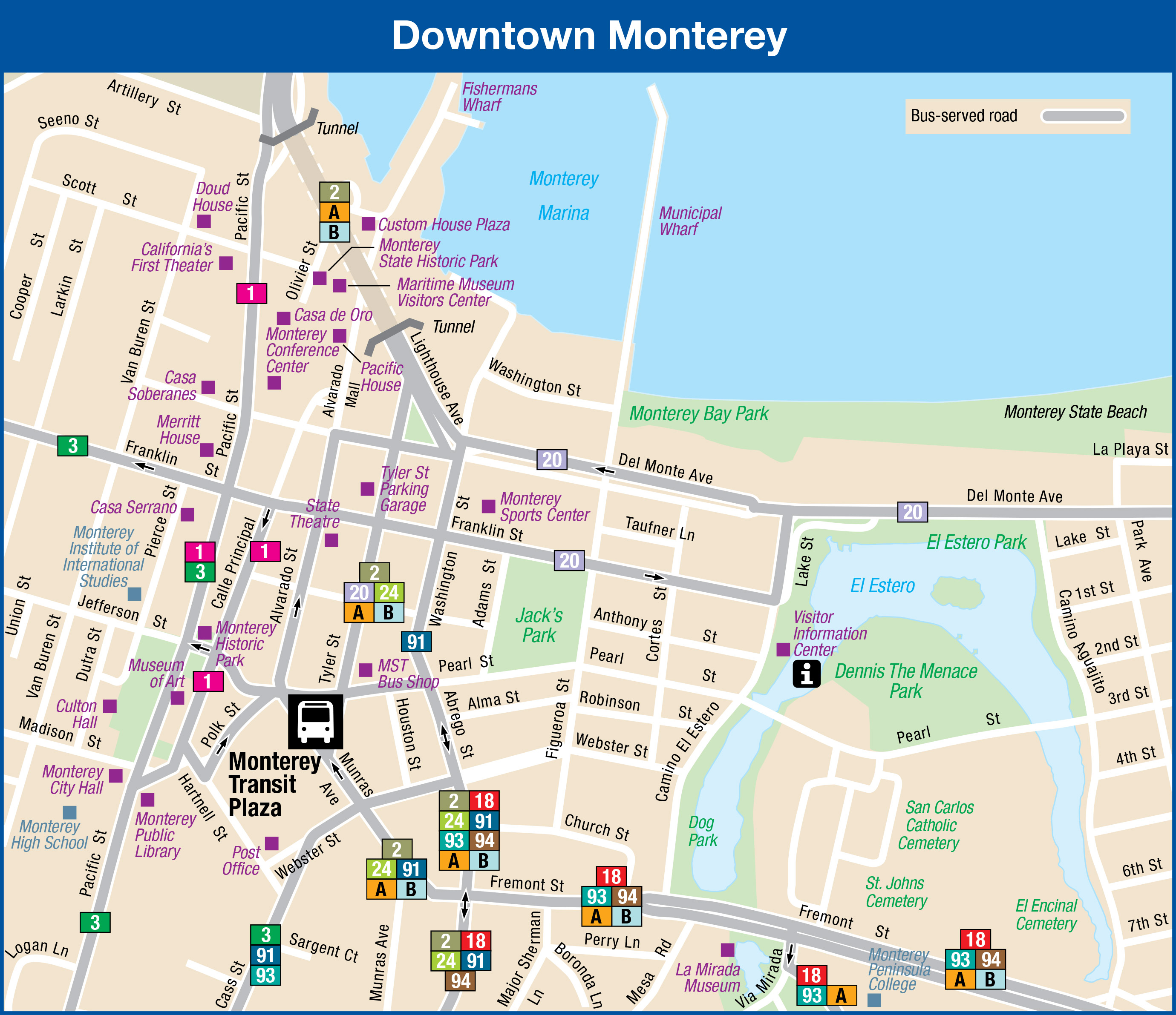 downtown montereyincludes routes that travel through downtown monterey