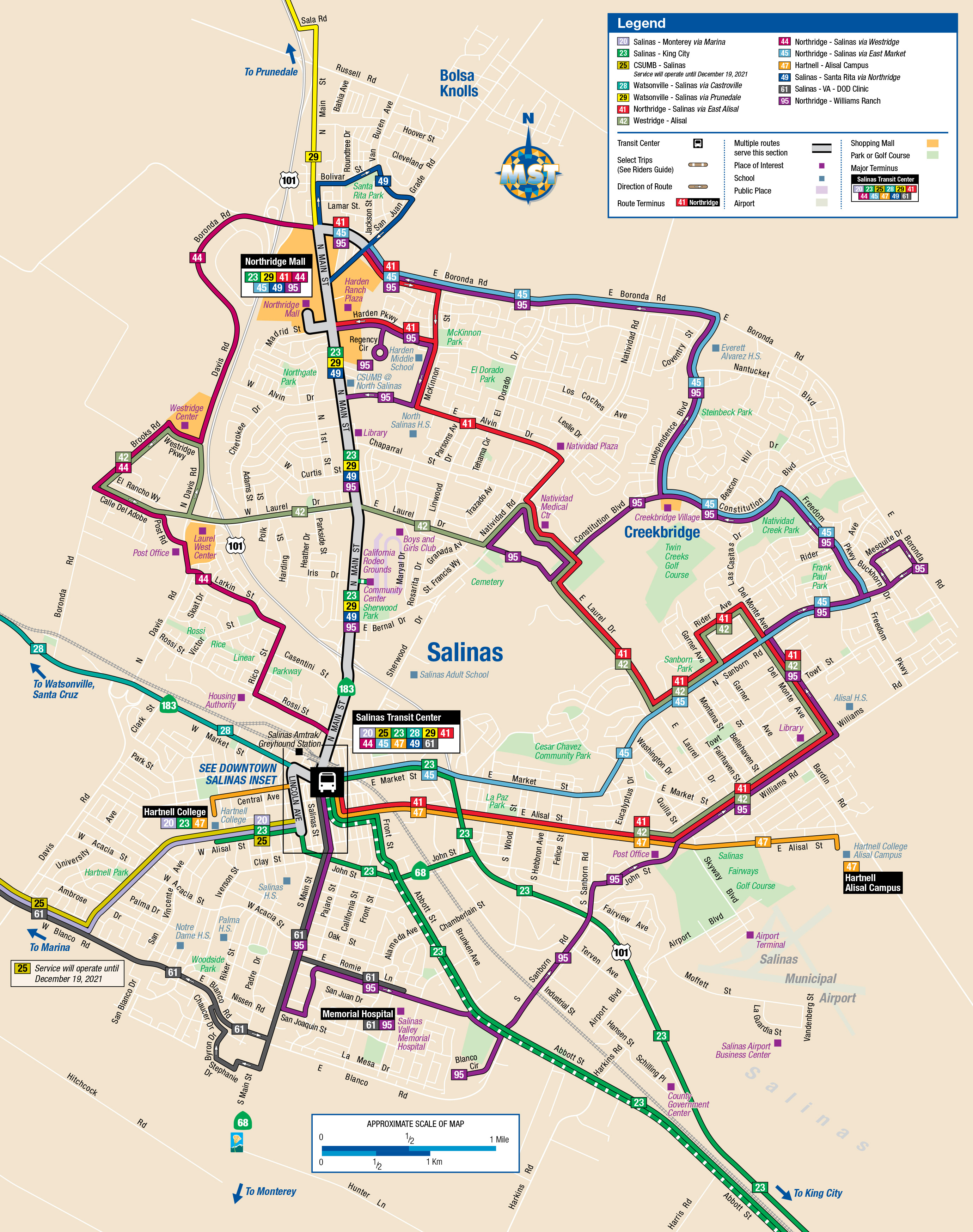 salinas system mapincludes routes that travel through the city of salinas